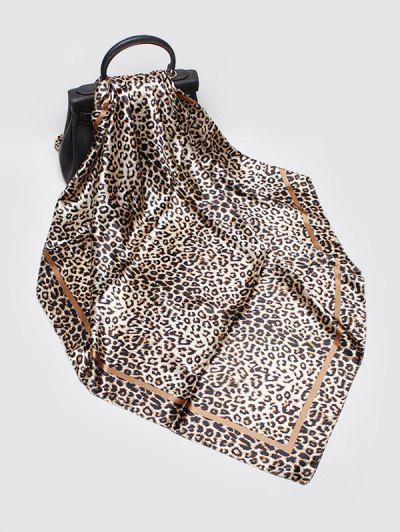 Leopard Print Satiny Square Scarf - Leopard