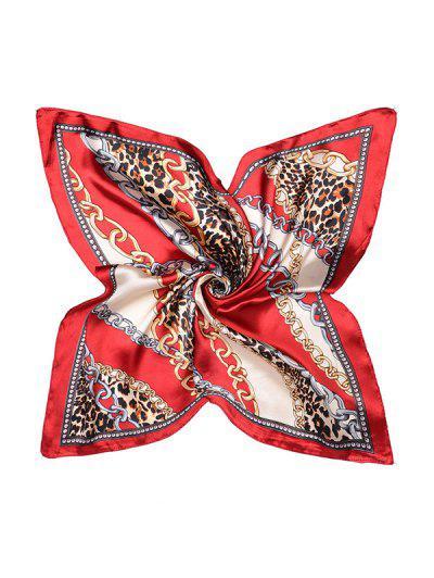 Artificial Silk Leopard Chain Print Square Scarf - Red Wine