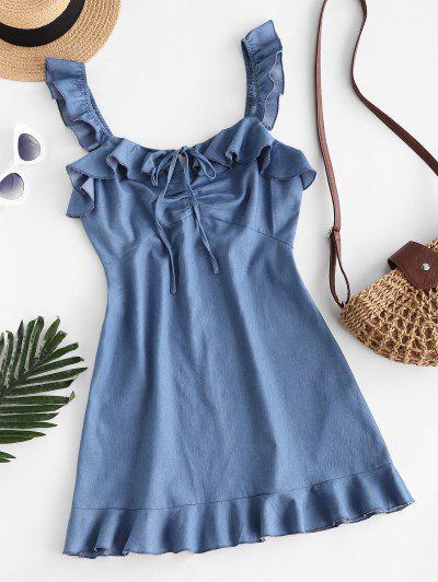 ZAFUL Vestido Chambray Con Volantes Con Lazo - Azul S