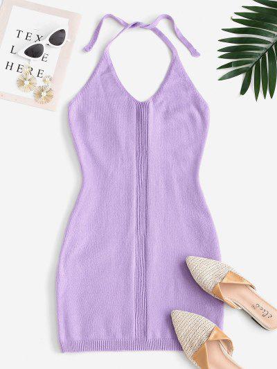 Halter Bodycon Mini Sweater Dress - Light Purple M