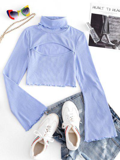Ribbed Lettuce Trim Cut Out Tee - Light Blue S