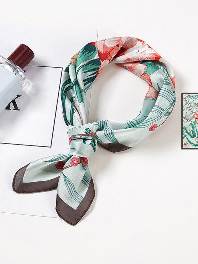 Squirrel Flower Printed Square Scarf - Light Cyan