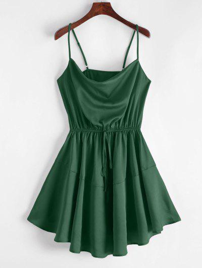 ZAFUL Silky Cowl Neck Cami Dress - Greenish Blue S