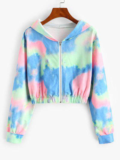 Tie Dye Hooded Zipper Crop Jacket - Light Pink M