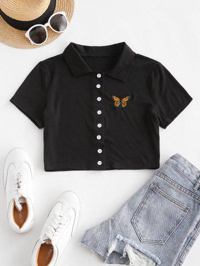 Short Sleeve Butterfly Embroidered Crop Shirt - Black S