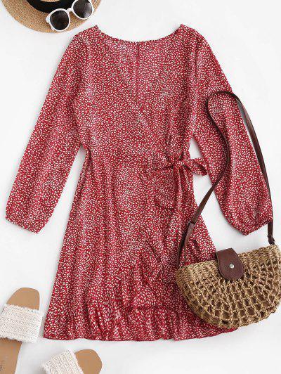 ZAFUL Robe Enveloppée Plongeante Fleurie Imprimée à Volants - Rouge S