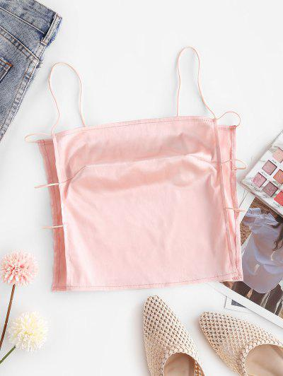 ZAFUL Bungee Strap Satin Strappy Side Boob Cami Top - Pig Pink S