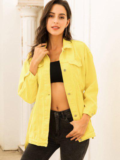 Casaco Denim Com Cinto Colorido - Amarelo Xs
