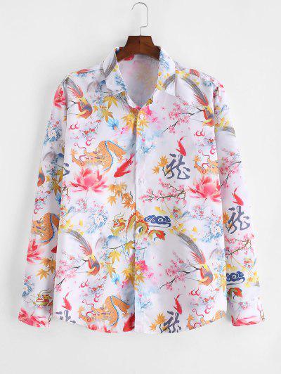 ZAFUL Chinese Dragon Floral Painting Retro Long Sleeve Shirt - Multi L