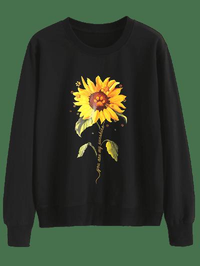 Sunflower Slogan Claw Print Pullover Sweatshirt