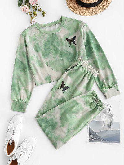 ZAFUL Tie Dye Butterfly Two Piece Sweat Jogger Pants Set - Light Green M