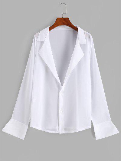 Button Up See Thru Chiffon Top - White