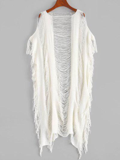 Knitted Fringed Ripped Cover Up Dress - White