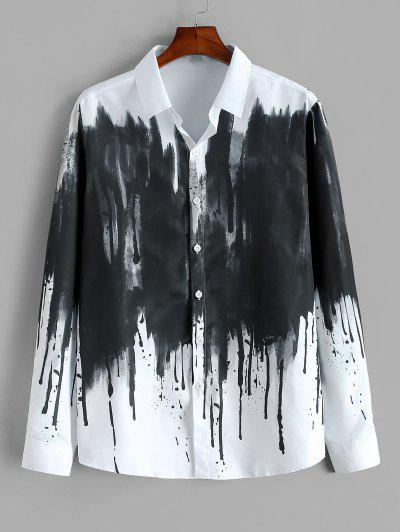 ZAFUL Chinese Splatter Ink Print Button Up Vintage Shirt - White 2xl