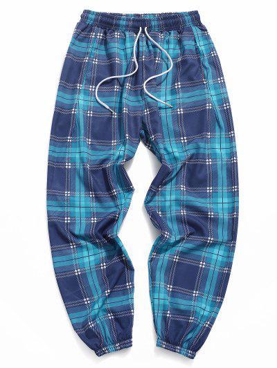 Plaid Pattern Elastic Cuff Pants - Peacock Blue 3xl