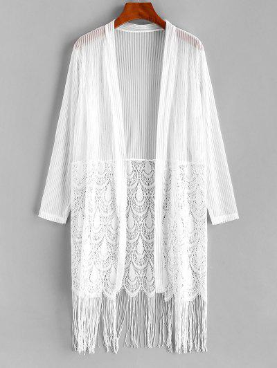 Lace Panel Fringed Shadow Stripes Cover Up - White