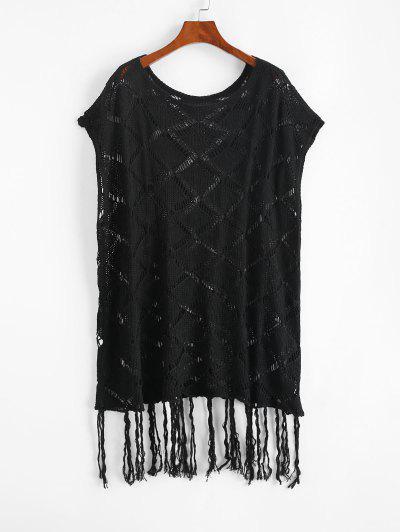 Open Knit Tassels Cape Cover Up Dress - Black