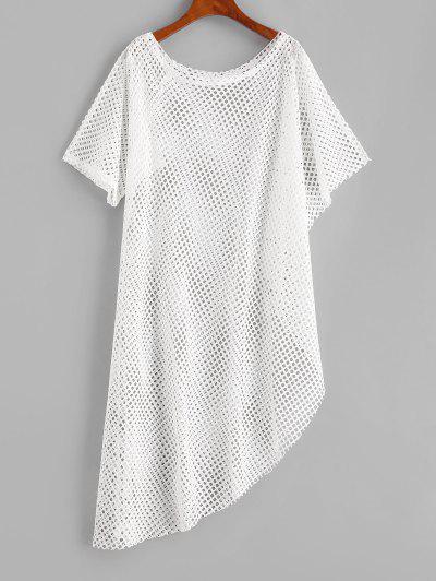 Openwork Uneven Hem Raw Cut Cover-up Dress - White