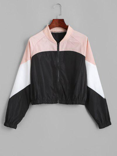 Colorblock Raglan Sleeve Bomber Jacket - Black M