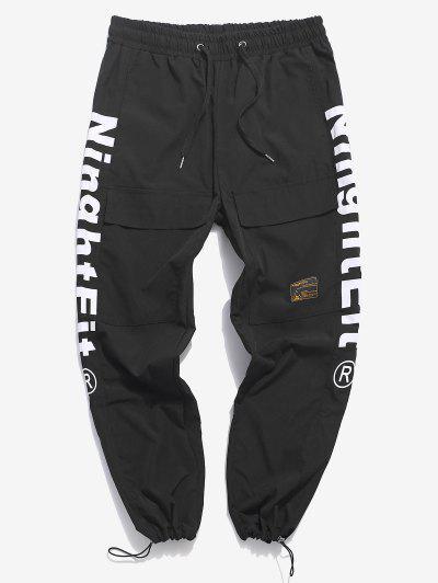 Pantalones De Cargo Con Cordón Y Estampado De Letras - Negro Xs