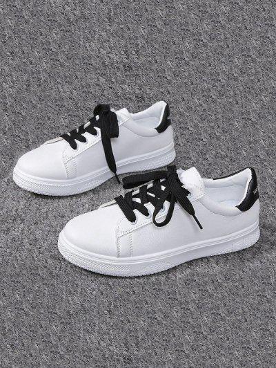 Lace-up Flat Sports Shoes - Black Eu 40