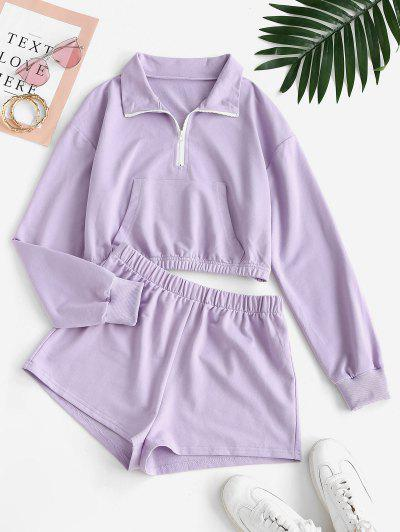 Half Zip Kangaroo Pocket Two Piece Shorts Set - Light Purple L
