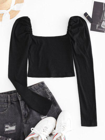 Ribbed Puff Sleeve Milkmaid Top - Black S