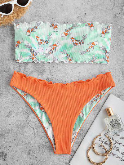 ZAFUL Fish Print Ribbed Lettuce Trim Bandeau Bikini Swimwear - Orange M