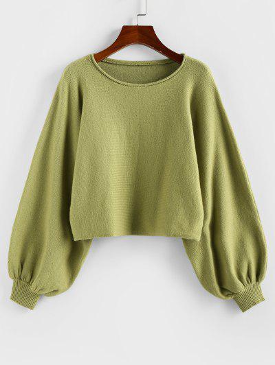 ZAFUL Plain Lantern Sleeve Short Sweater - Light Green Xl