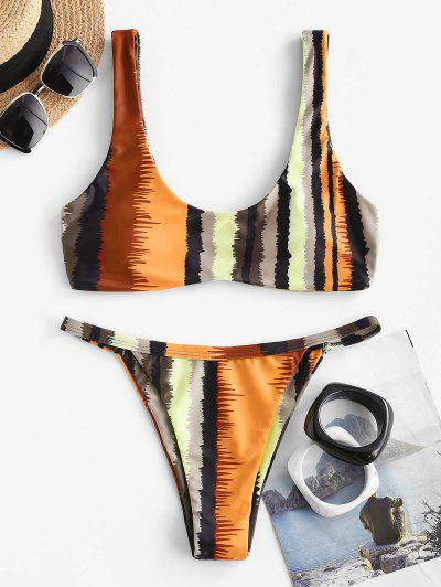 ZAFUL Striped Tank Tanga Bikini Swimwear - Multi M