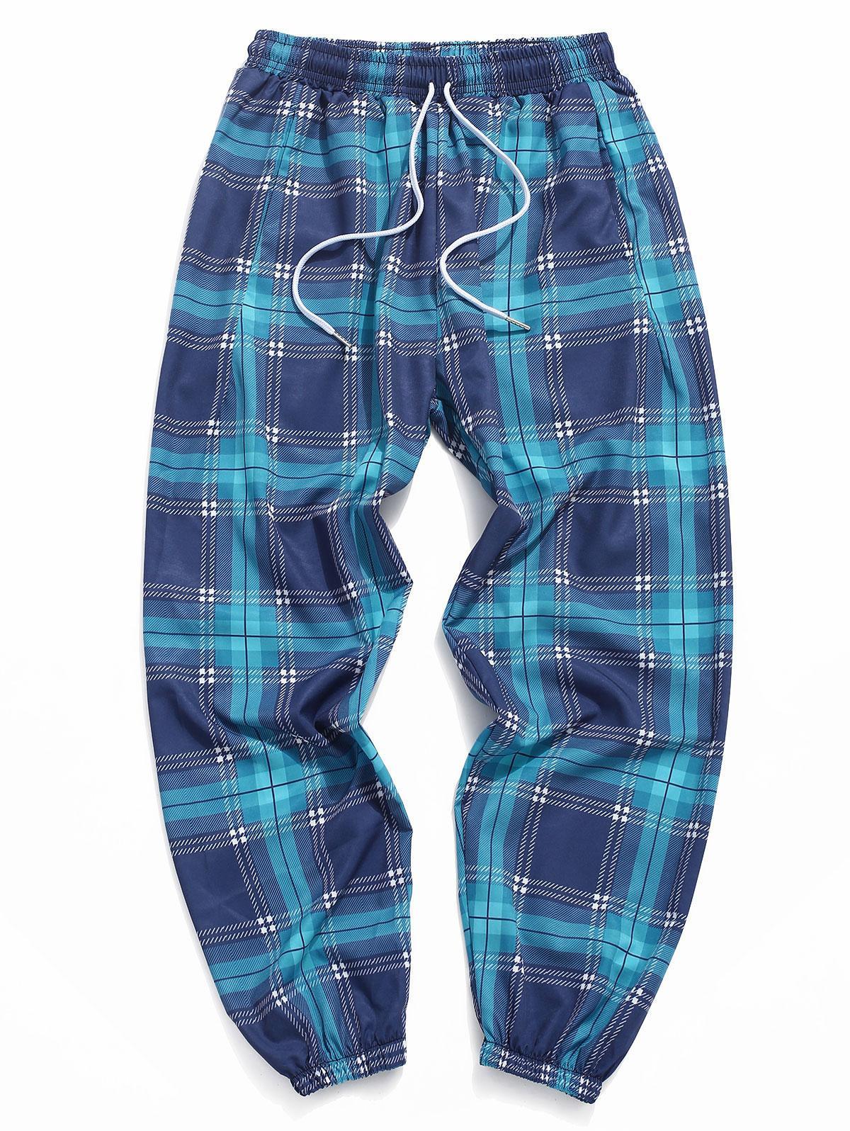 zaful Plaid Allover Pattern Pants