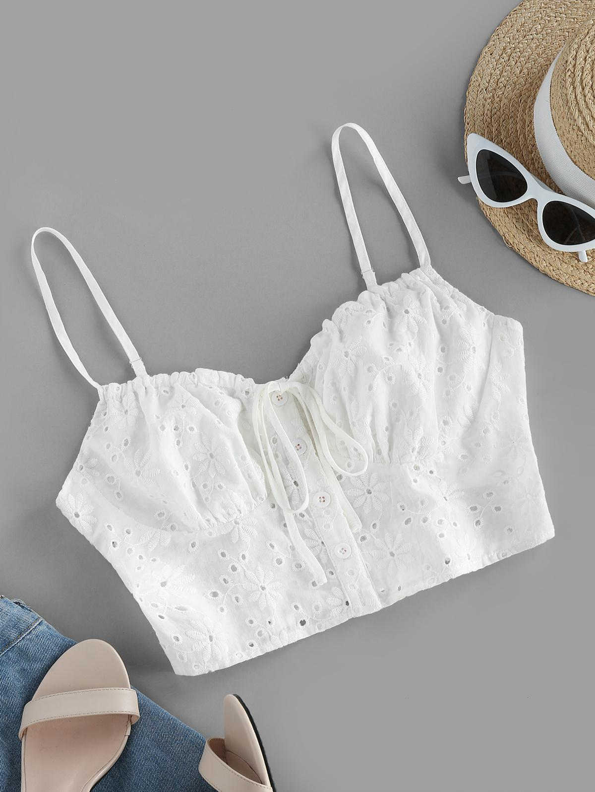 ZAFUL Broderie Anglaise Eyelet Tie Cami Top