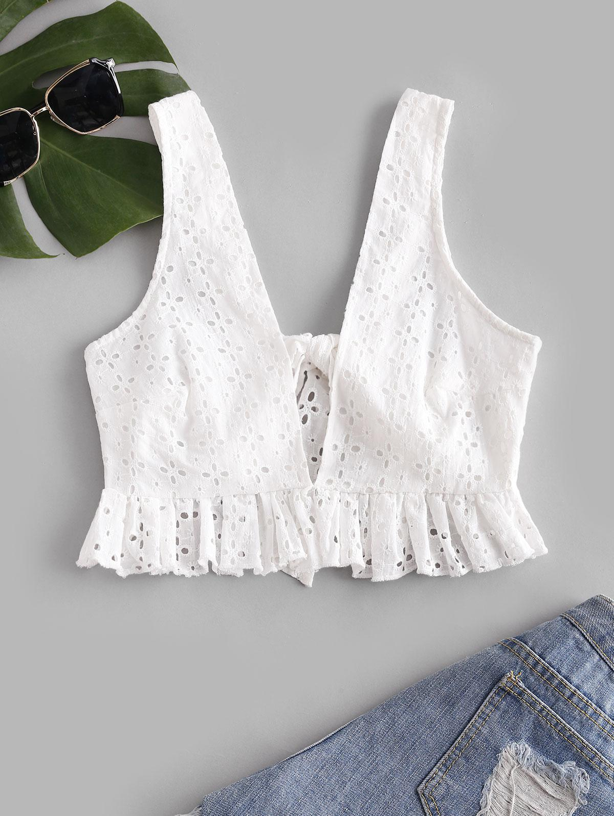 Ruffle Back Knot Broderie Anglaise Tank Top