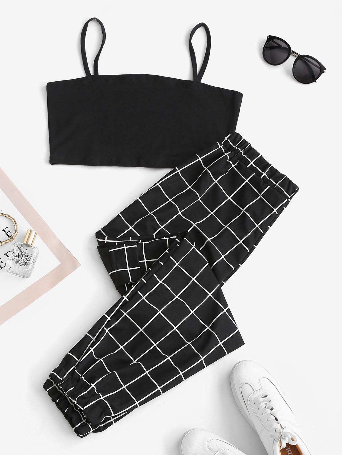 Cropped Slant Pockets Checked Two Piece Set