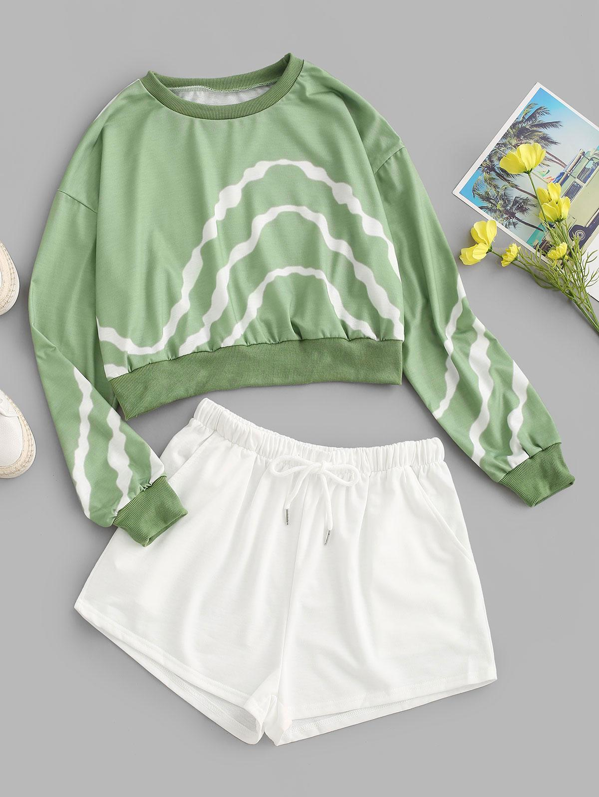 Striped Drop Shoulder Drawstring Sports Shorts Set