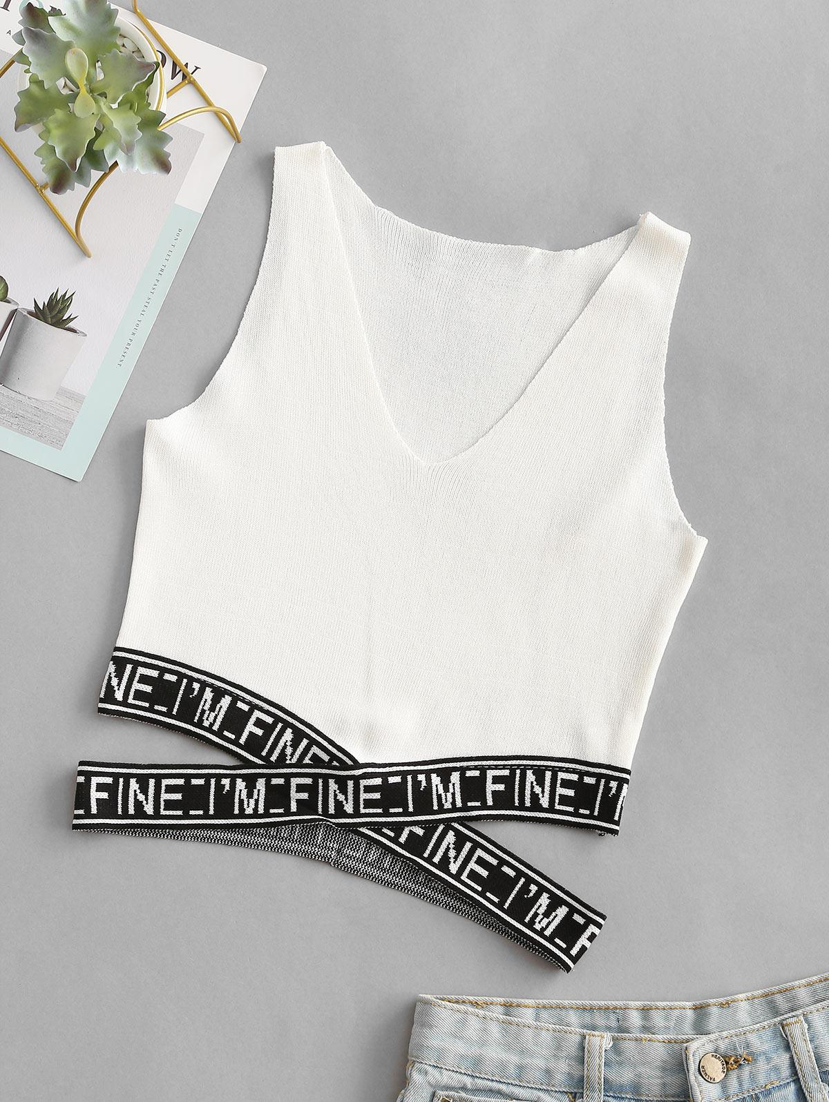 Knitted Graphic Cut Out Crop Top