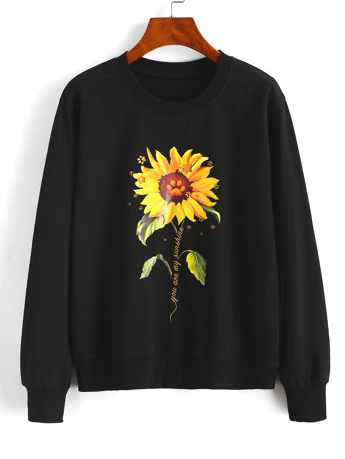 Sunflower Slogan Claw Print Pullover Sweatshirt