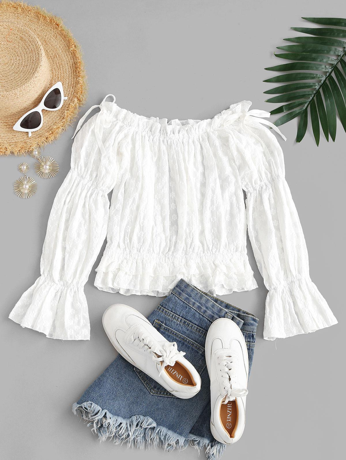 Embroidered Layered Hem Off Shoulder Blouse