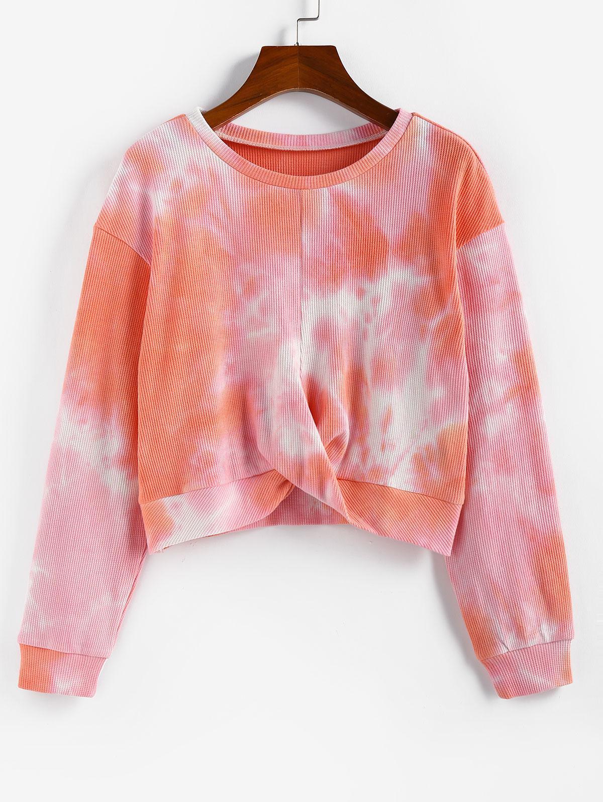 ZAFUL Front Twist Tie Dye Sweatshirt