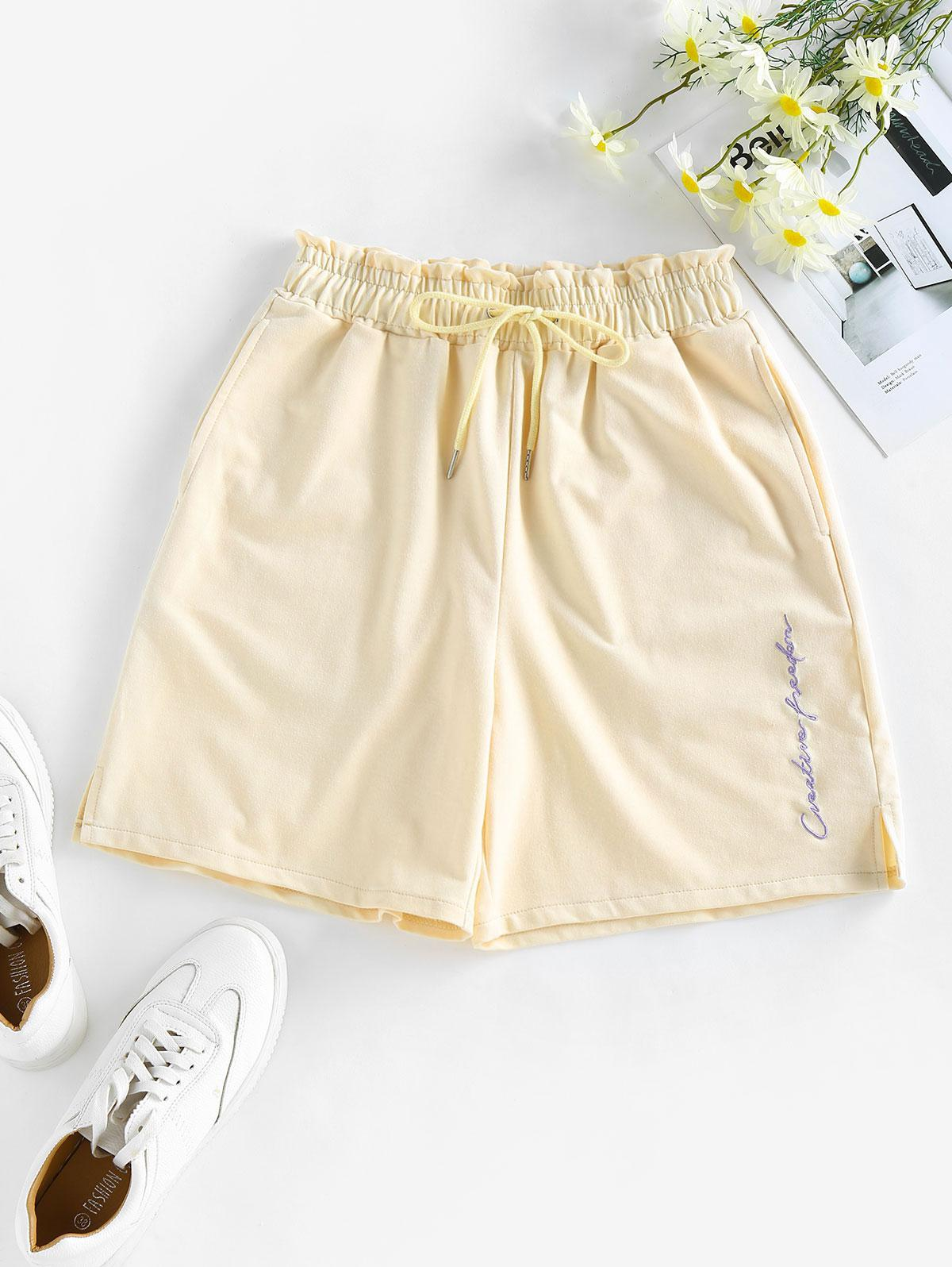 ZAFUL Letter Embroidered Slit Drawstring Shorts