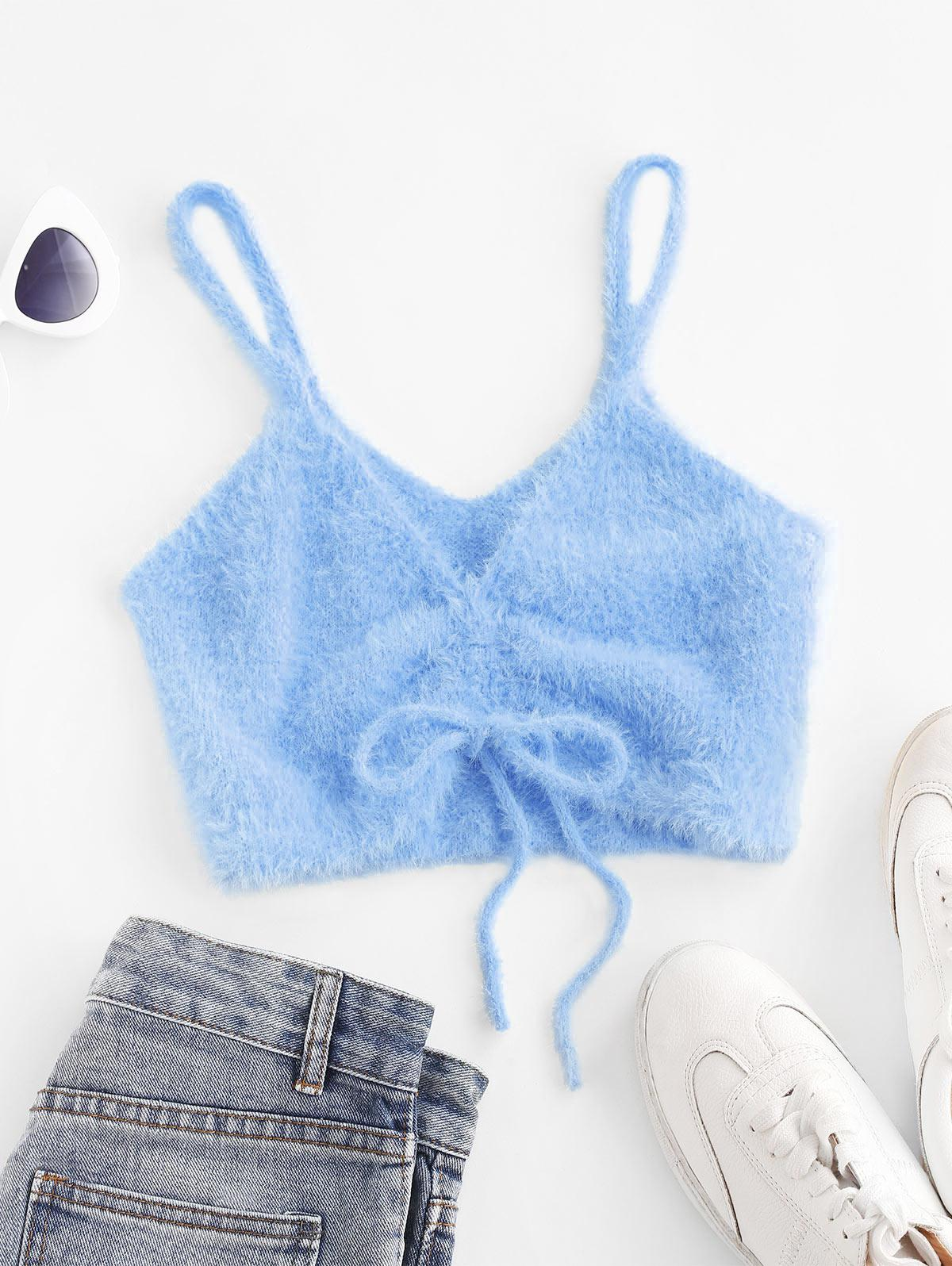 Fuzzy Cinched Front Knitted Crop Top