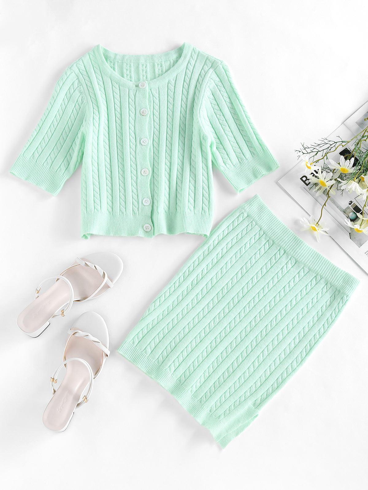 ZAFUL Cable Knit Button Up Slit Bodycon Skirt Set