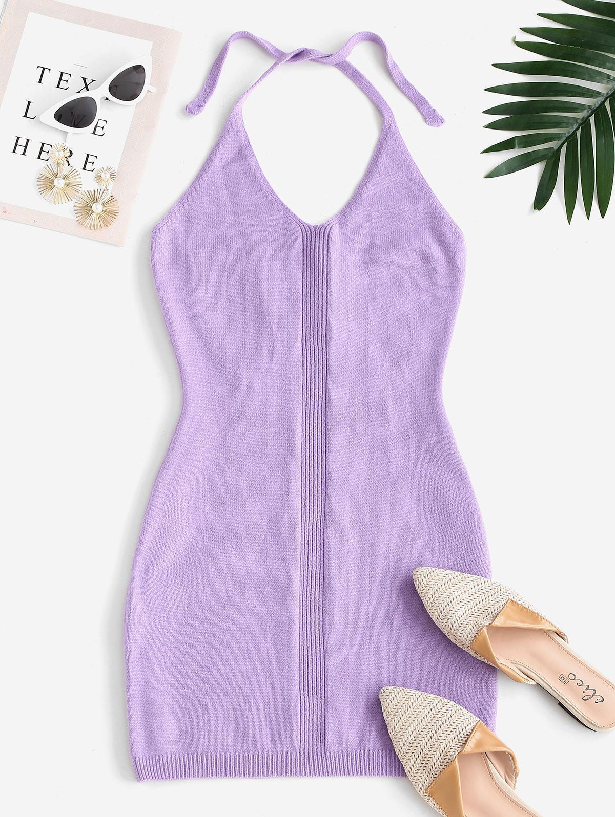 Halter Bodycon Mini Sweater Dress
