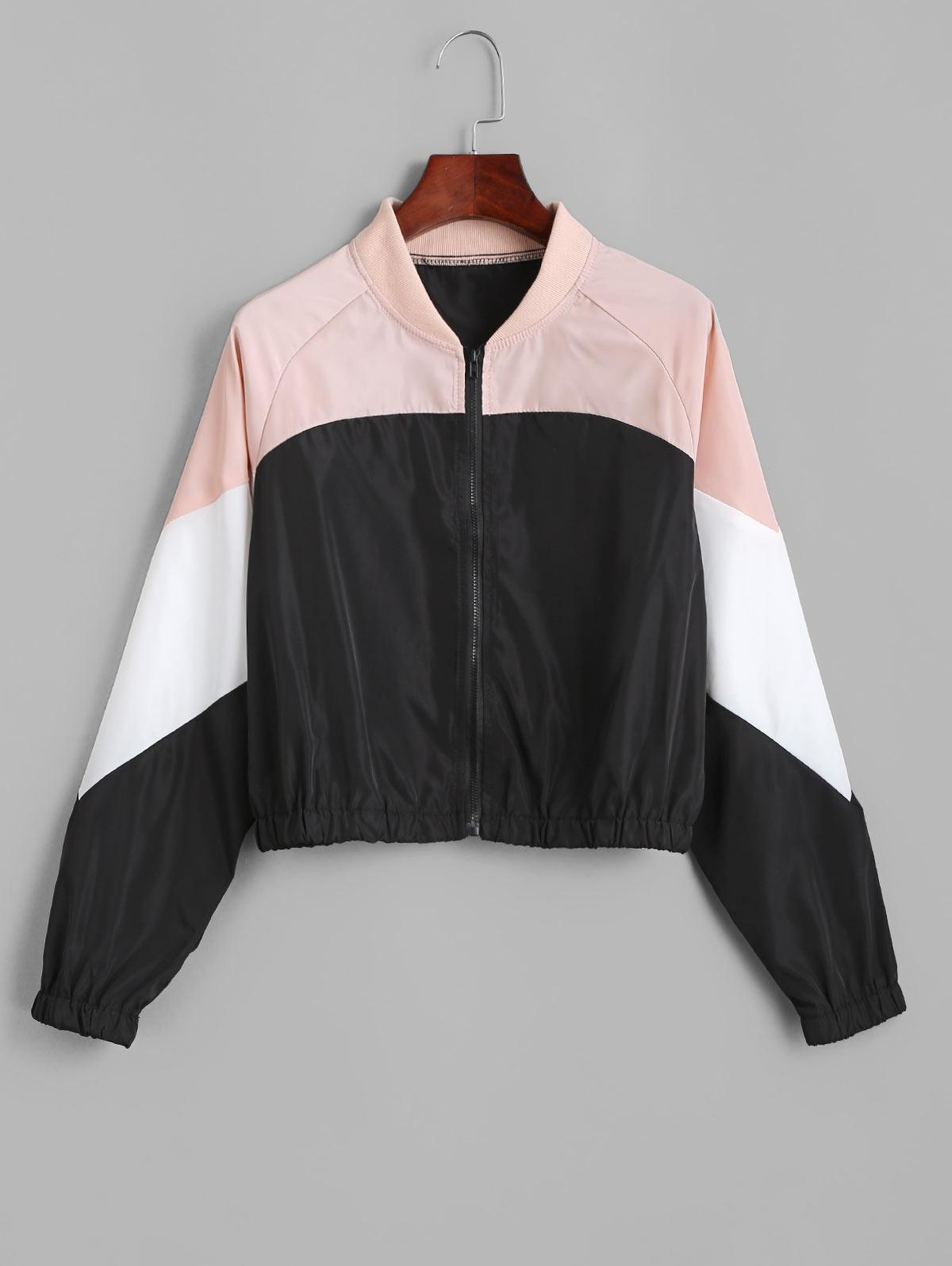 Colorblock Raglan Sleeve Bomber Jacket