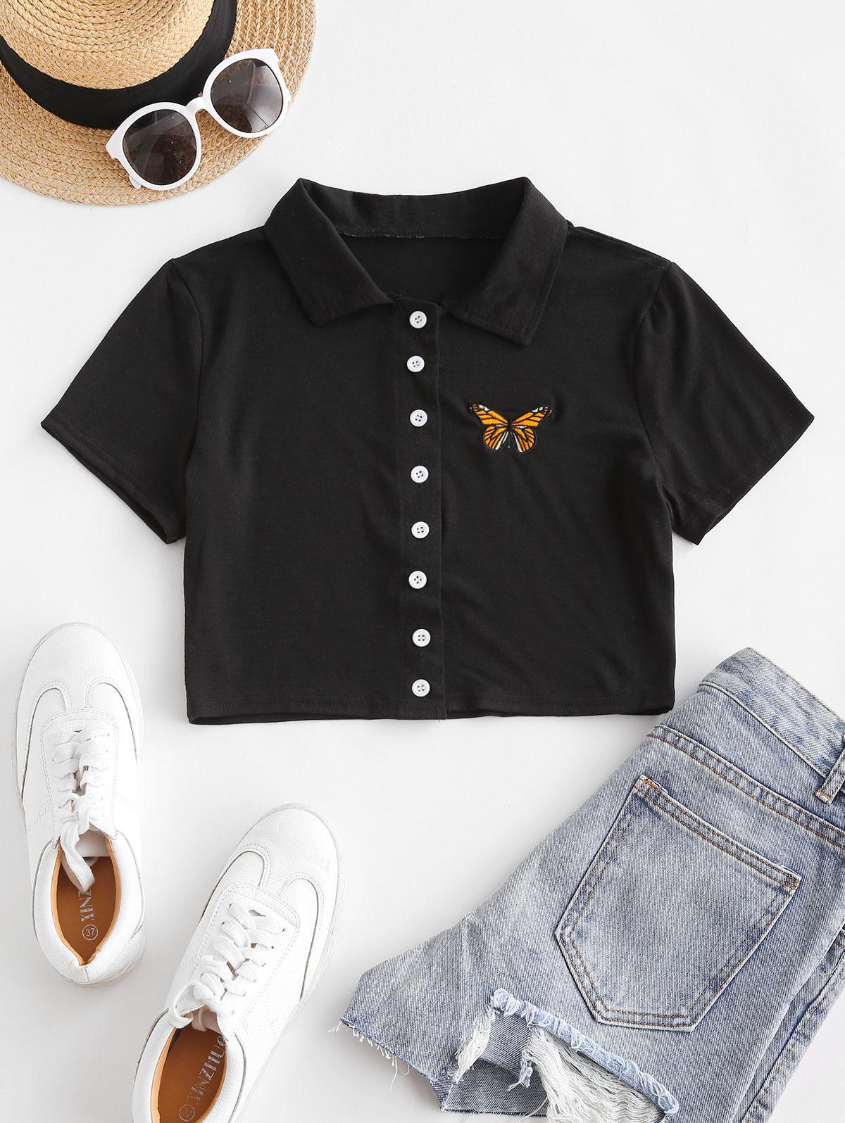 Short Sleeve Butterfly Embroidered Crop Shirt