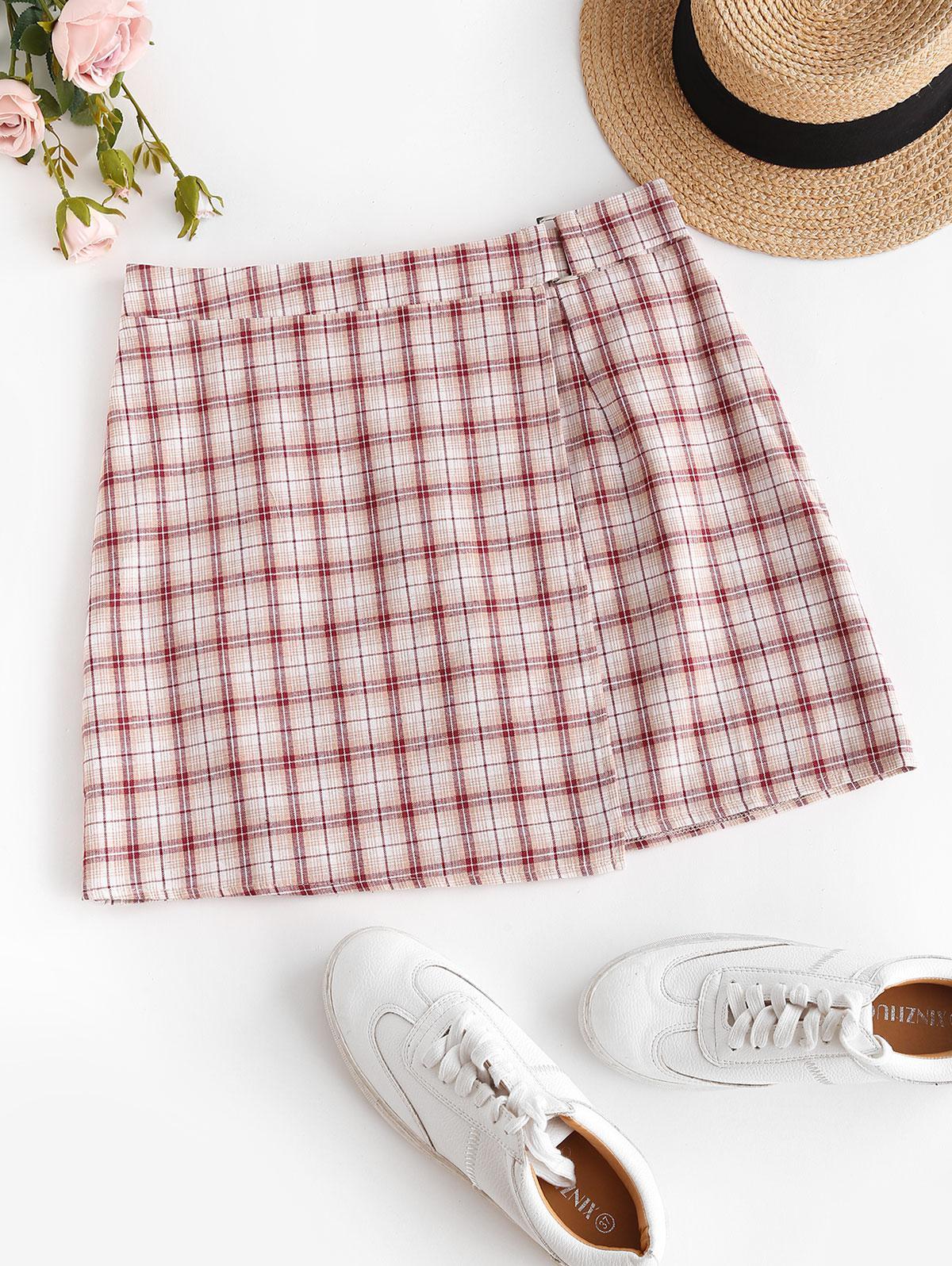 ZAFUL Plaid Overlap A Line Skirt