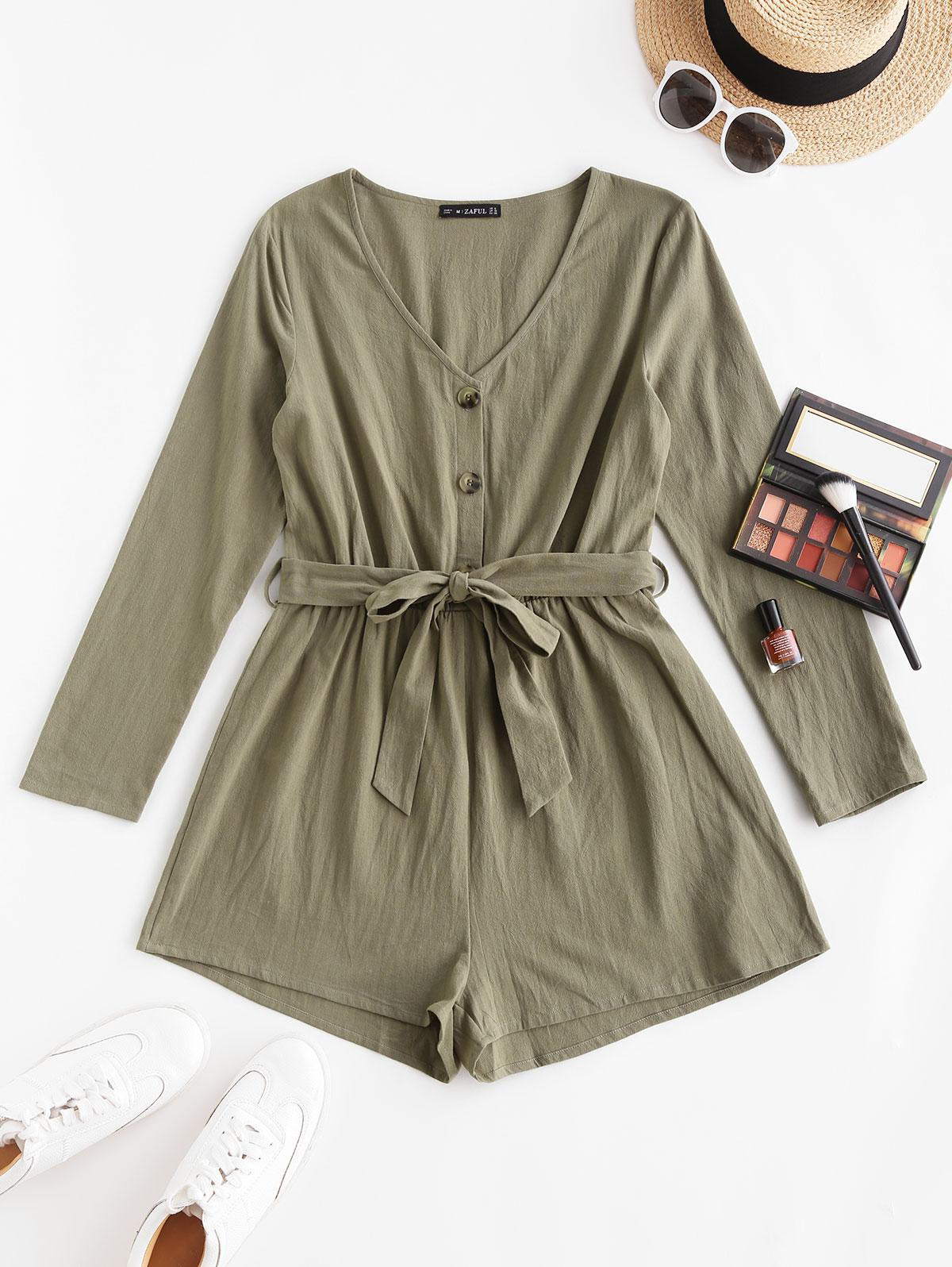 ZAFUL Button Front Long Sleeve Belted Romper