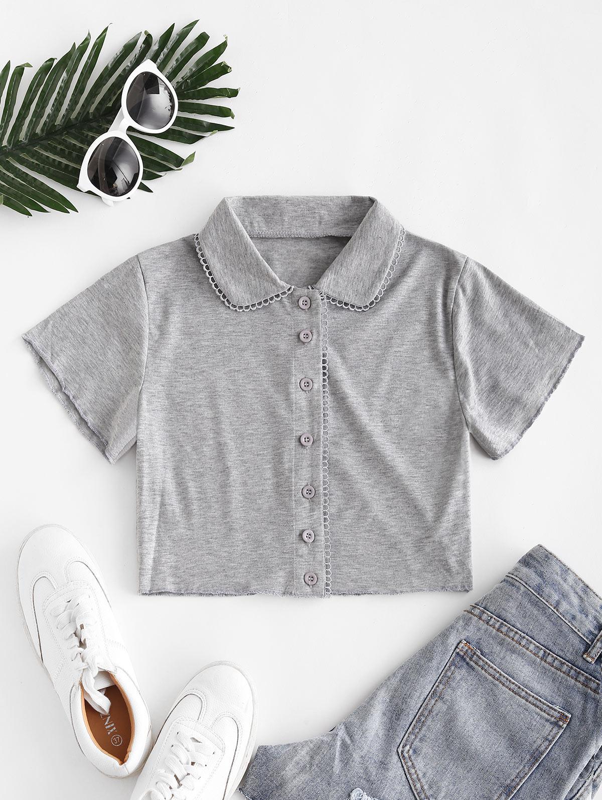 Heather Picot Trim Short Sleeve Crop Shirt