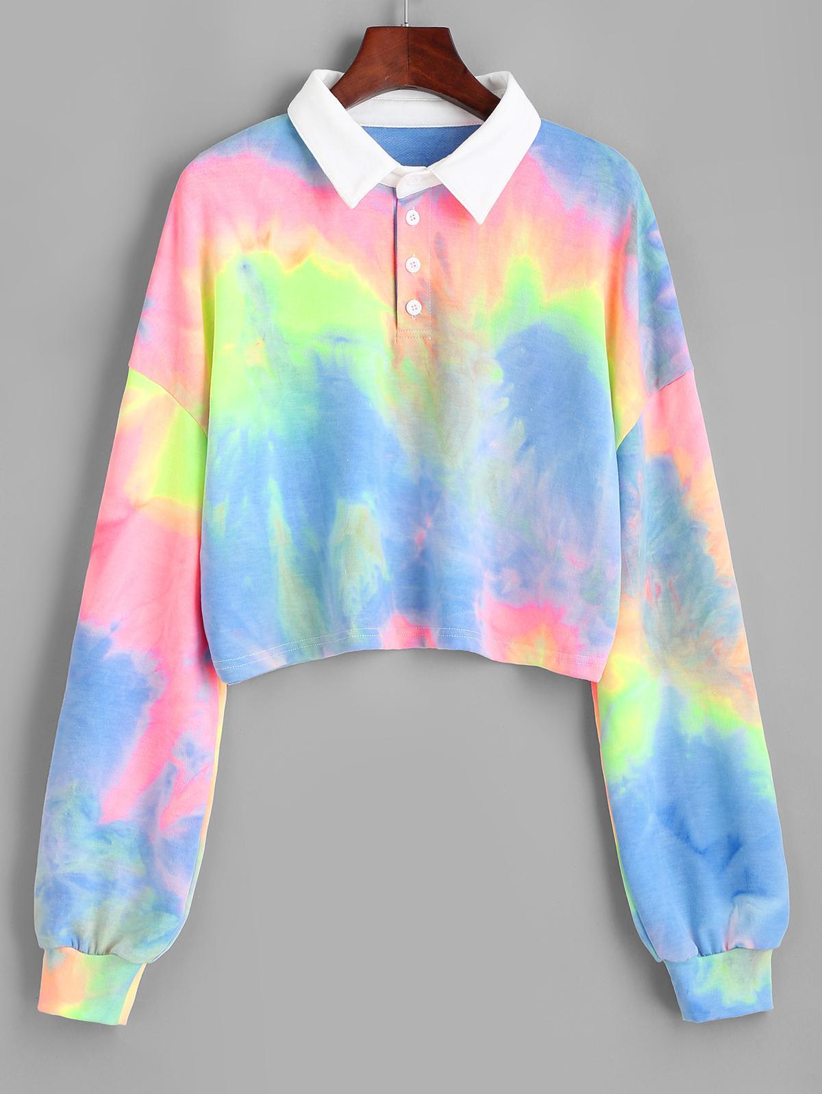 Colorful Tie Dye Cropped Sweatshirt