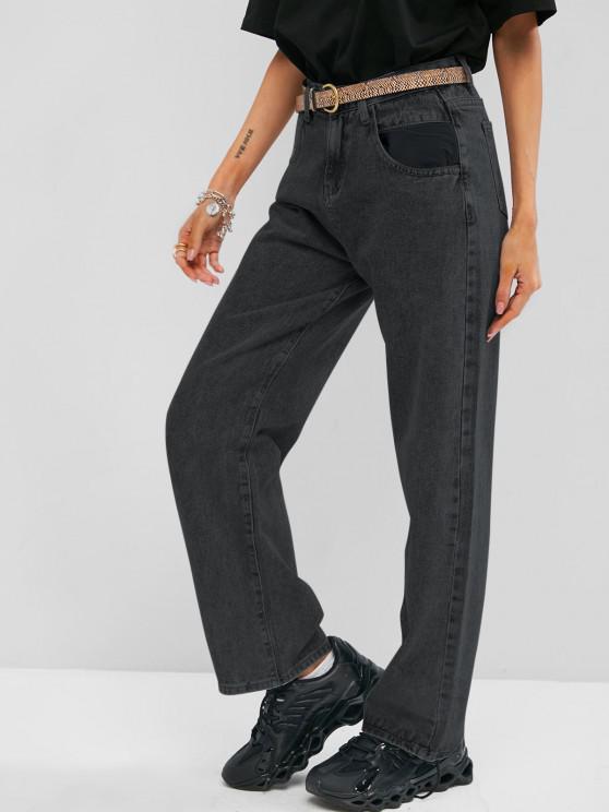 Jeans de Cintura Alta Ascensão Elevada - Preto M